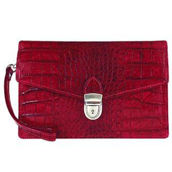 L.A.P.A. Designer Handbags Cherry Croco-embossed Leather Clutch