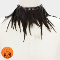 "13"" crystal feather choker collar bib necklace .30"" earrings 6"" drop"