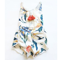 new design Baby Clothes Newborn Baby Romper summer Baby Girl Boy Clothes Costume Overalls floral tassel Baby Clothing