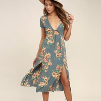 Flower Print V-neck Short Sleeves Long Fashion Dress