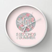 5SOS Pink Floral Wall Clock by Valerie Hoffmann   Society6