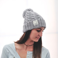 Grey Cable Pompom Hat