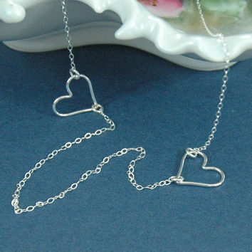 Silver Heart Necklace, Silver Hearts, Two Heart Necklace, Lightweight Silver Chain, Silver Wire Heart, Valentines Necklace