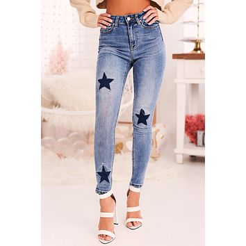 When The Night Ends Star Patched Skinny Jeans (Medium Blue)
