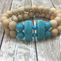 Beaded, Bracelet, Boho, Hippie, Stretch, Turquoise, Double, Stone, Natural, Wood, Bohemian, Western, Native American, Country, Cowgirl, Chic