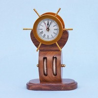 Solid Brass Ship Wheel Clock on Wooden Pulley