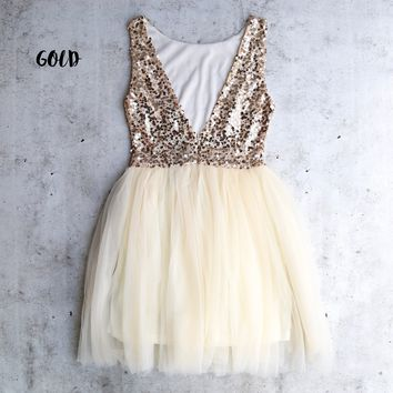 sugar plum gold sequin darling party dress - gold