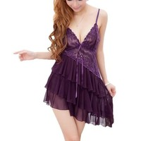 Mlaemq New Lace Sexy Lingerie Babydoll+G String Color Purple One Size