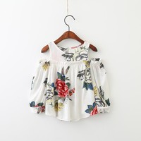White Floral Rose Peek-A-Boo Shoulder Tunic