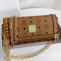 MCM New fashion more letter leather wallet purse handbag Brown