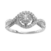 Simply Vera Vera Wang Diamond Twist Halo Engagement Ring in 14k White Gold (3/8 ct. T.W.)