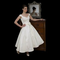 Timeless Chic Ivory Tea Length 1950s Style Wedding Dress With Cap Sleeve - Star Bridal Apparel