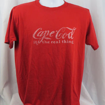 "Coca Cola knockoff ""Cape Cod"" Logo Vintage 80s T Shirt MEDIUM"