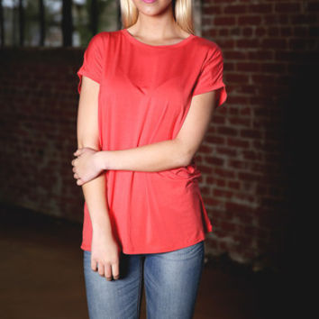 Piko Wide Sleeve Top - coral
