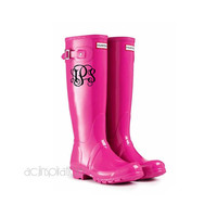 Monogrammed Rainboot Decal - Personalized Vinyl Decal - Custom Monogram Decal - Rain Boots Decal
