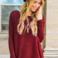 Simple And Soft Sweater Wine