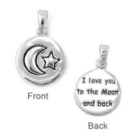 Sterling Silver I Love you to the Moon Pendant - 14mm