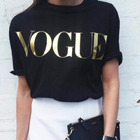 Summer Women's Fashion Alphabet Short Sleeve Round-neck T-shirts [11499130191]