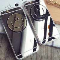 Fashion Mirror Smiling Face Mobile Phone Case For Iphone 5 5s SE 6 6s 6plus 6s plus + Nice gift box!