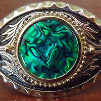Western Belt Buckle Featuring an Abalone Shell / Polished Silver Tone and Black Accents / Abalone Cowboy Belt Buckle