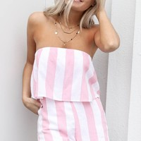 Never Regret It Striped Sleeveless Romper