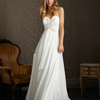 White & Silver Ruched & Draping Chiffon Embellished Empire Waist Wedding Dress - Unique Vintage - Cocktail, Evening, Pinup Dresses
