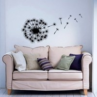 Blowing Away In The Wind Flower Dandelion Wall Decals Vinyl Sticker Home Interior Decor for Any Room Housewares Mural Design Graphic Bedroom Wall Decal (5735)