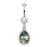 316L Stainless Steel Tear Drop Shaped Jeweled Abalone Dangle WildKlass Navel Ring