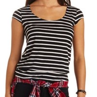 Strappy Back Striped Swing Top by Charlotte Russe - Black Combo