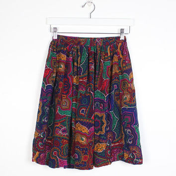 Vintage Paisley Skirt 1980s Skirt Bright Rainbow Black Mixed Print High Waisted Skirt Elastic Waist Mini Skirt 80s Knee Length XS S M Small
