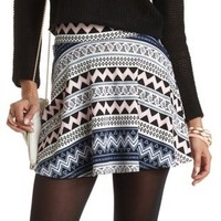 Mixed Print Skater Skirt by Charlotte Russe - Assorted