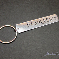 Fearless Hand Stamped Keychain, Aluminum Stamped Metal