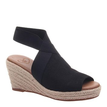 MADELINE - SUNNY DAY in BLACK Wedge Sandals