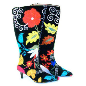 Suzani Hand Embroidered Velvet and Leather Kitty Heel Boot