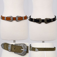 New Women Western Fashion Suede Studded Double Metal Buckle Bri Bri Stretch Belt
