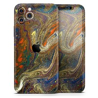 Colorful Gold Mixed Acrylic - Skin-Kit compatible with the Apple iPhone 12, 12 Pro Max, 12 Mini, 11 Pro or 11 Pro Max (All iPhones Available)