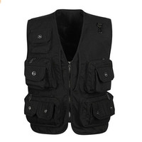 Men's Photographer Hunting Fly Pockets Fishing Vest Black