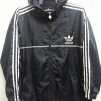 Sale Vintage 1990s Adidas Trefoil Embroidered Logo Style Run Dmc Hip Hop Pull Over Sweater Jacket