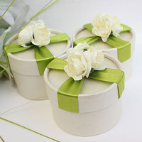 Beige Cylindrical Wedding Favor Candy Box  with Green Ribbons and Flowers 30  pcs, DIY  Party Paper Favor Box