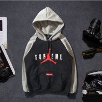 Autumn and winter new wave of licensing lovers sets of gray sleeve cotton pullovers basketball hooded men and women with sweater coat