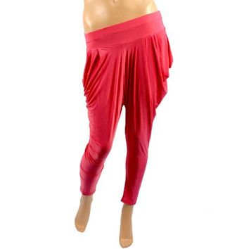 New Sheer Solid Harem Parachute Low Inseam Pants Leggings Stretch Tights Pink