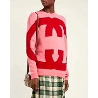 GUCCI new double G letter jacquard round neck long sleeve sweater