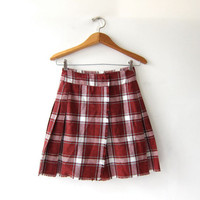 vintage plaid mini skirt. kilt skirt. preppy wrap skirt. herringbone skirt. school girl.