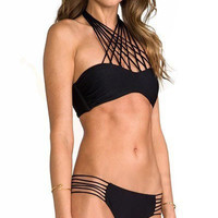Black Strappy String High Neck Halter Bikini