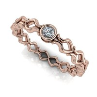 Diamond Keyhole Stacking Band - Insieme™ Bridal Stackables - .06 CTW