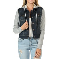 Solid Long Sleeve Fleece Hoodie Classic Cropped Casual Denim Jackets