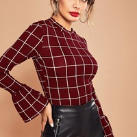 Bell Sleeve Grid Fitted Top