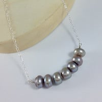 Gray pearl necklace. Long thin sterling silver chain. Grey button freshwater pearl jewelry.