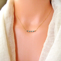 Rose gold and Turqouise beads necklace, bridesmaid, layered