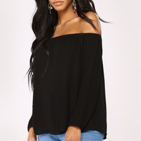 Softest Touch Off Shoulder Top - Black